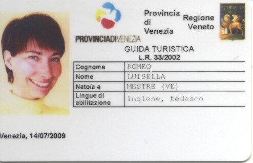 License as a registered tourist guide in Venice
