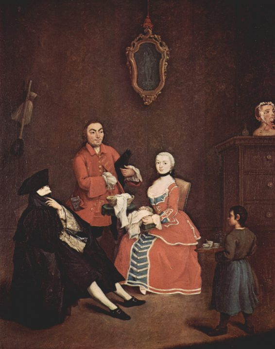 Pietro Longhi, a visit wearing the mask called Bautta, Ca' Rezzonico, Venice