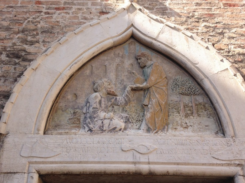 Bas-relief in Venice: The shoemakers' guild with St Mark healing Anianus