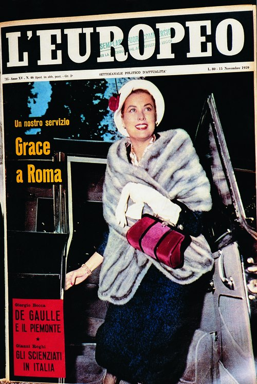 Grace Kelly with her Bagonghi bag appearing on Europeo (bag by Roberta di Camerino, in Bevilacqua silk velvet, all Fashion made in Venice)