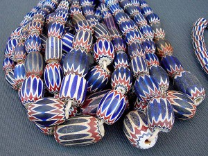 Chevron glass beads, made in Murano, called Rosetta beads