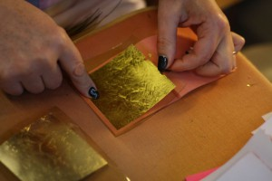 gold leaf on a glass sheet