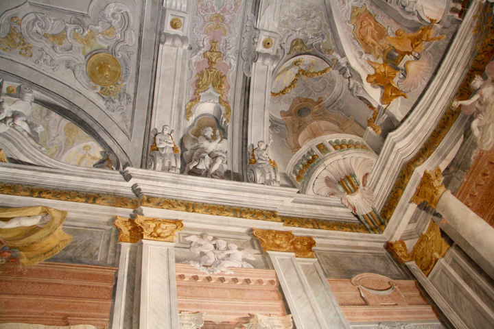 Ballroom in Ca' Rezzonico, Venice. Detail of the frescoed ceiling