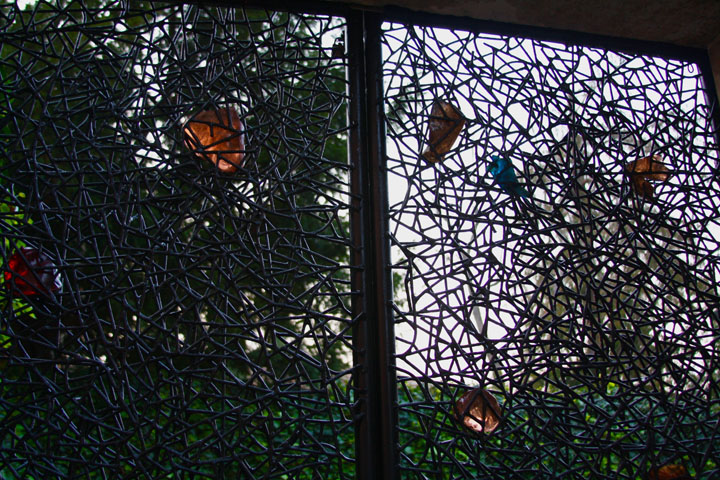 Gate in metal and Glass designed by Claire Falkenstein for the Peggy Guggenheim collection in Venice, Detail