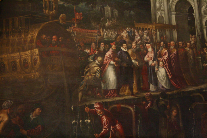 Doge's palace in Venice, Andrea Vicentino, Arrival of Henry 3rd Valois. detail