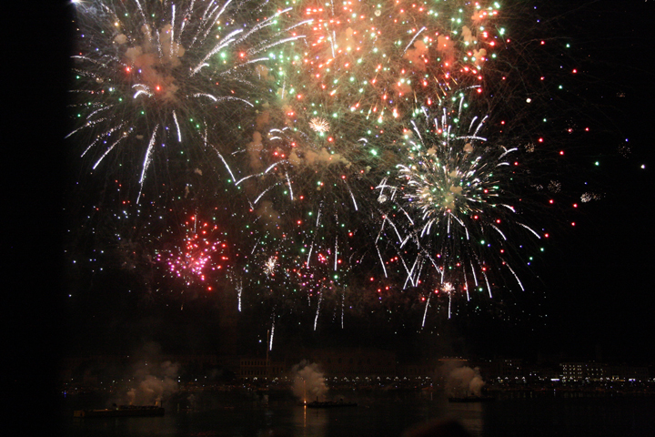 Venice, Redentore fireworks in red, green and white