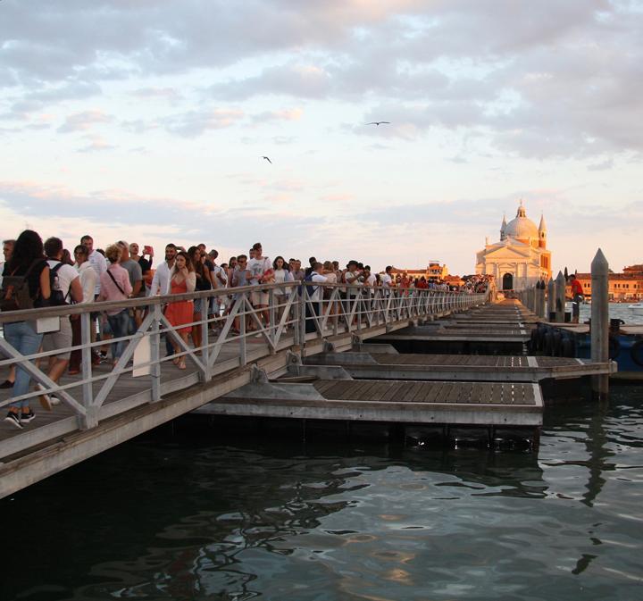 Venice, Giudecca island, floating pontoon to the Redentore Church