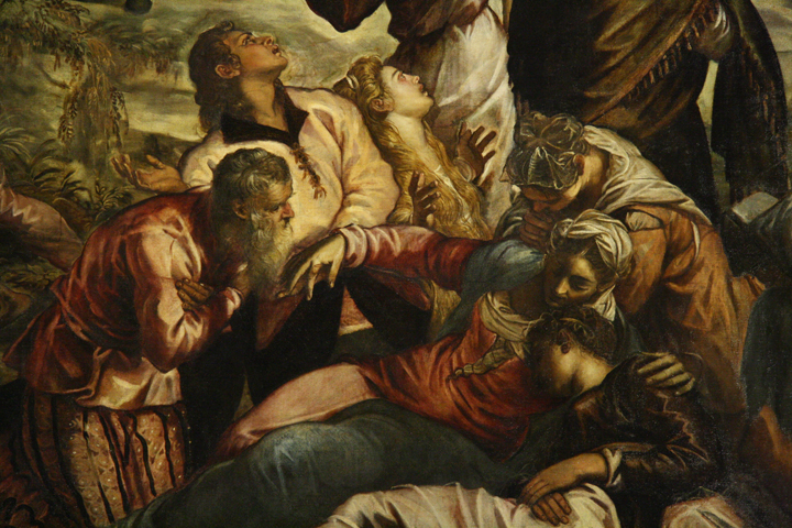 Scuola Grande San Rocco, detail of the Crucifixion by Tintoretto, Venice