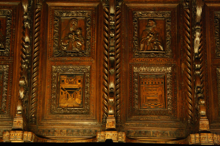 The Frari church, detail of the wooden marquetry, Venice