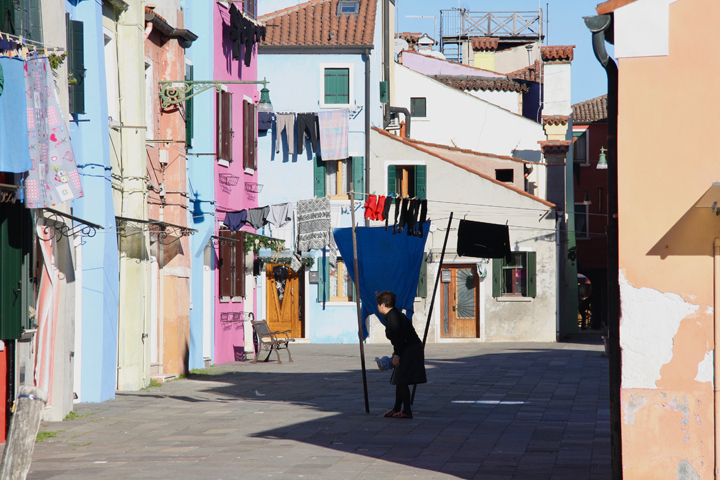 Typical colorful houses and laundry on the island of Burano