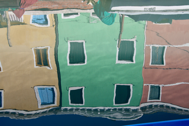 Typical colorful reflections on the island of Burano