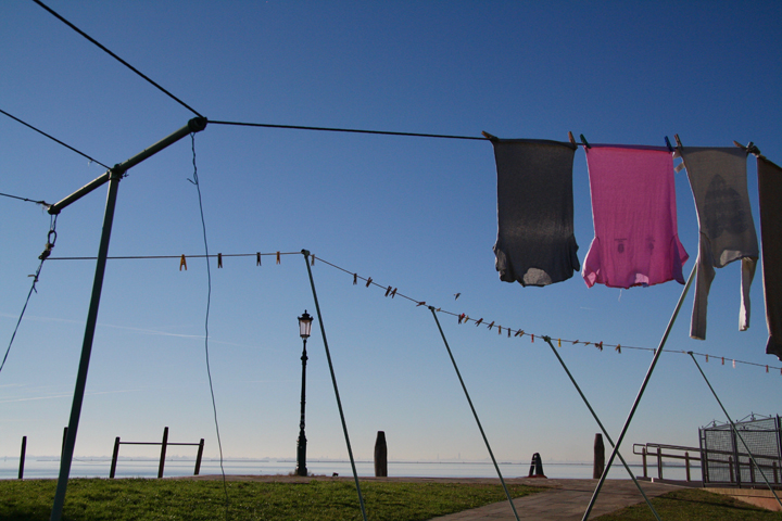 Laundry drying in the sun on the island of Burano
