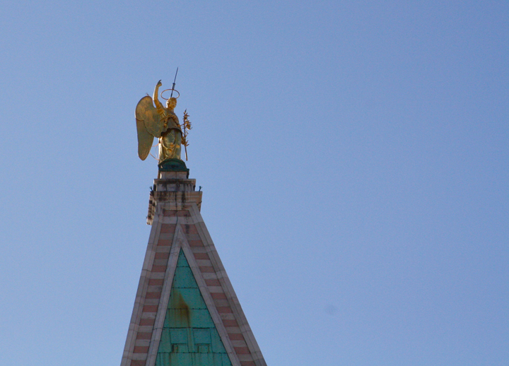 The gilded angel on top of the Campanile in St Mark's square, Venice