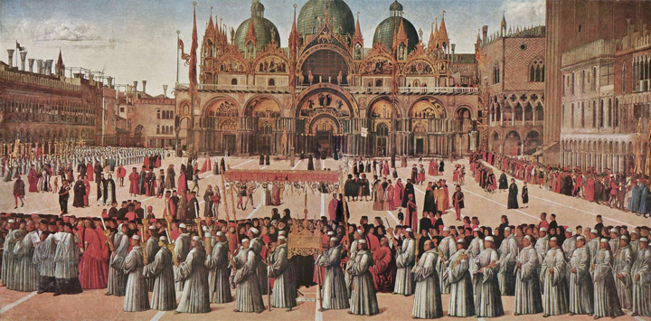 The Corpus Domini procession in St Mark's square by Gentile Bellini, Accademia Gallery, Venice