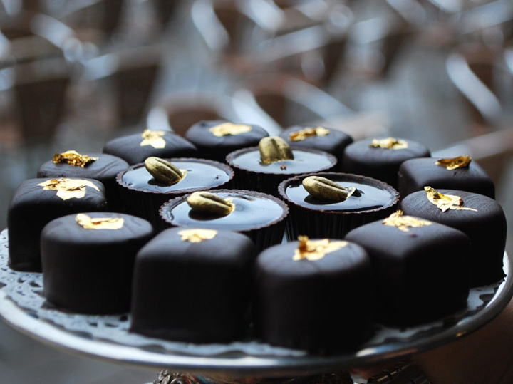 When gold is used in the cuisine: chocolate and gold leaf at the Florian Cafe in Venice