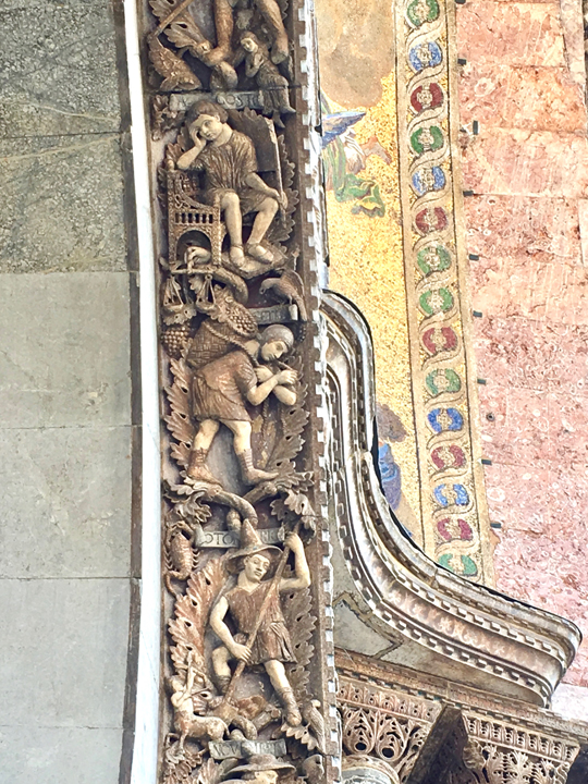 Venice, St Mark's church, details with grapes