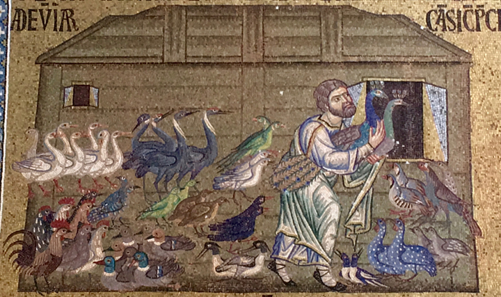 Noah's ark in the mosaics in St. Mark's church in Venice, Detail of the birds