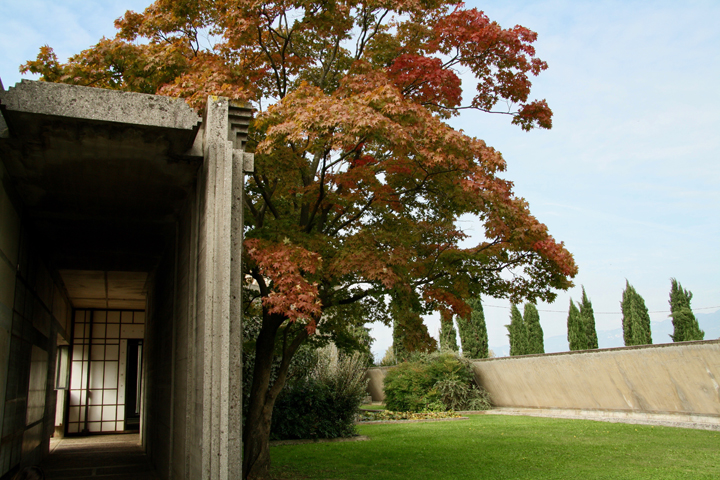 Brion Tomb designed by Carlo Scarpa, the lawn and the chapel