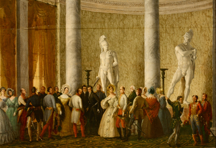 Giuseppe Borsato The Emperor and Empress of Austria visiting Canova's Hall in Palazzo Treves 1838 Private property