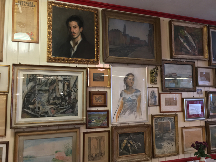 Trattoria Da Romano in Burano with a portrait by Leonardo D'Este