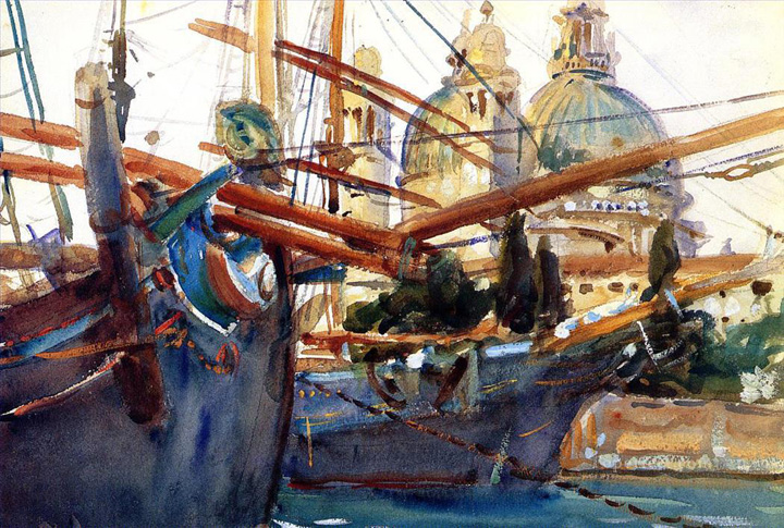 John Singer Sargent, Behind the Salute boat, 19th century in Venice