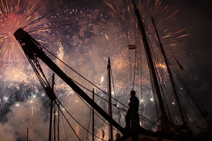 The Trabacolo at the Redentore festivity in Venice with fireworks