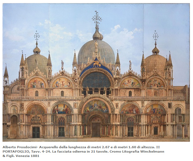 Ferdinando Ongania, Saint Mark's Basilica, watercolor