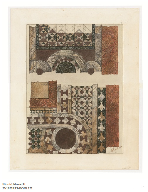 Ferdinando Ongania, Saint Mark's Basilica, detail of the marble floor, watercolor