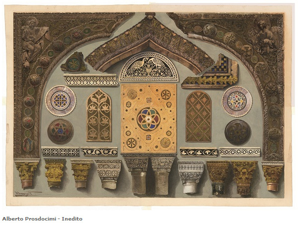 Ferdinando Ongania, Saint Mark's Basilica, detail of decorative elements, watercolor