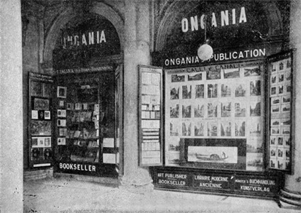 A rare photograph of the Ongania Bookshop and Publishing House in St Mark's square