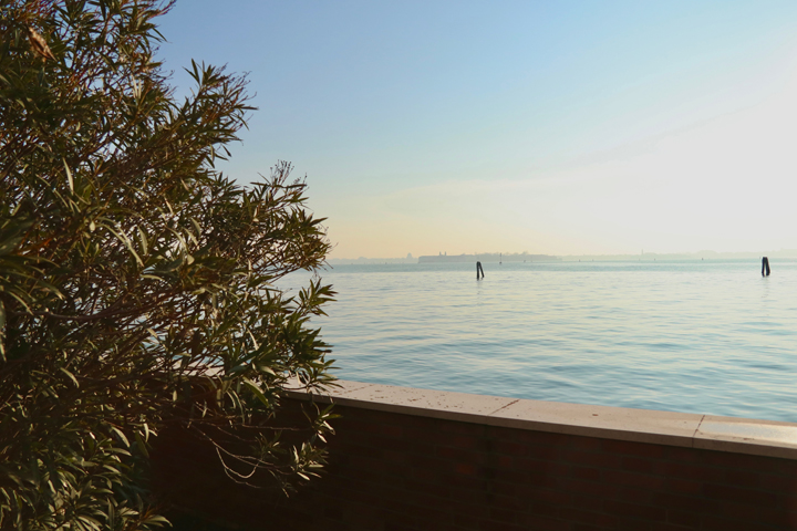 The view over the Venetian lagoon from the Villa Hériot's garden on Giudecca