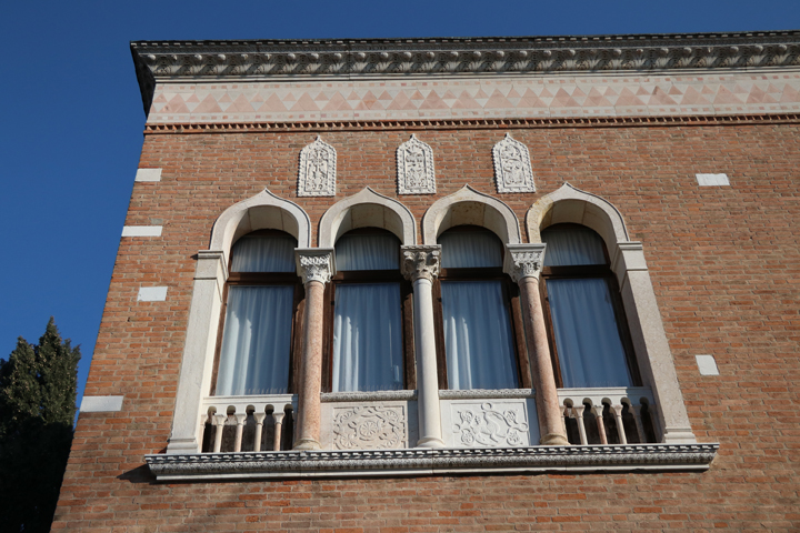 The Main House, part of the Villas Hériot on the island of Giudecca, Venice, 1929, Detail of neo-byzantine windows