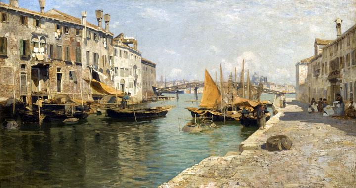 Guglielmo Ciardi, Fondamenta delle Zitelle on the island of Giudecca, 1868 ca.