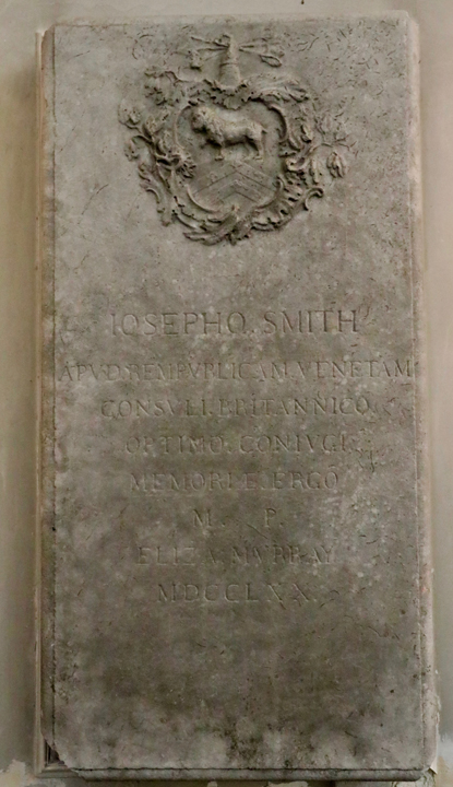 Joseph Smith's Tombstone in St. George's Anglican Church in Venice