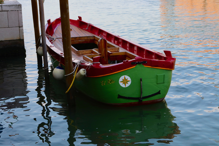 "A restored wooden ""topo"" outside the boatyard run by Venice On Board"