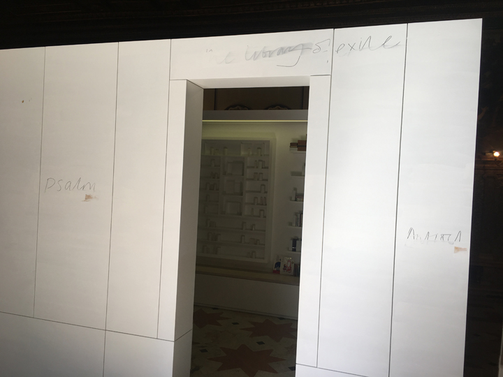 Entrance of the Library of Exile by Edmund de Waal, Venice, 2019