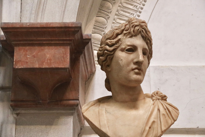 Bust of Apollo, head of the 2nd century BC, bust of the Renaissance time, marble, National Archeological museum in Venice now in Domus Grimani