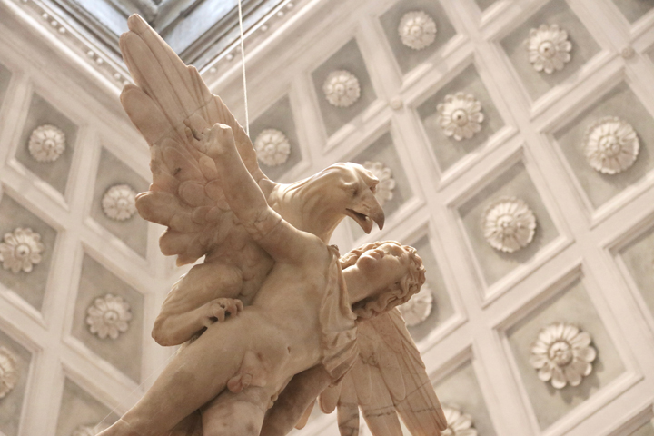The Abduction of Ganymede in the Tribuna at the Domus Grimani, AD 190-200 with strong restoration dating back to the middle of the 1500s, National Archeological Museum, Venice now in Domus Grimani
