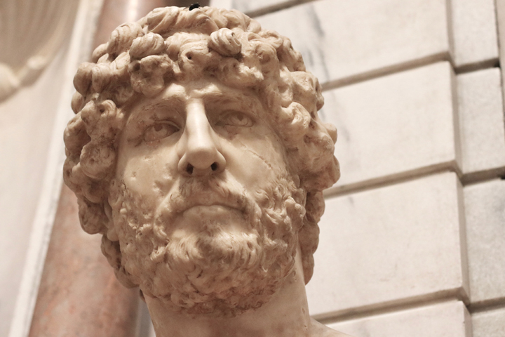 Male bust, likely Emperor Hadrian, AD 140, National Archeological Museum in Venice now in Domus Grimani