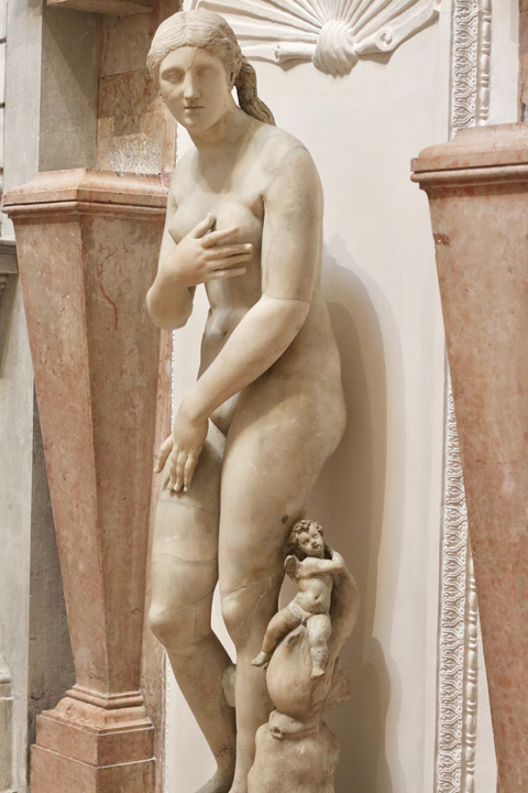 Aphrodite, AD 150-200 strongly restored in the Renaissance likely by Tiziano Aspetti, Greek marble, National Archeological Museum in Venice now in Domus Grimani