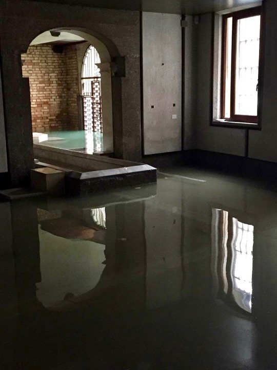 The Carlo Scarpa area at the Querini Stampalia Foundation in Venice after the floods